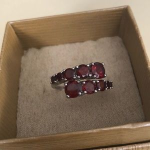 Round Red Garnet Sterling Silver Bypass Ring
